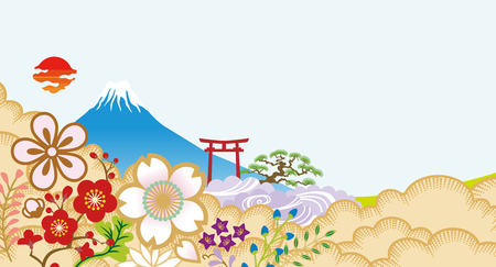 Mt.Fuji and Japanese flowers Illustration