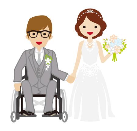 pareja de esposos: Boda en silla de ruedas Novio Vectores