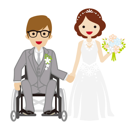 physical impairment: Wedding wheelchair Bridegroom Illustration