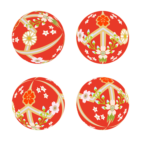 art product: Red Japanese Old-fashioned toy ball