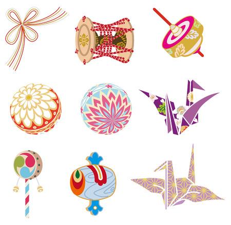 Japanese Old-fashioned toys Illustration