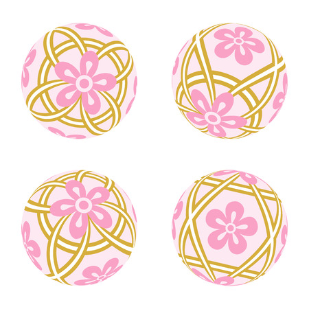 four objects: Pink Japanese Old-fashioned toy ball Illustration