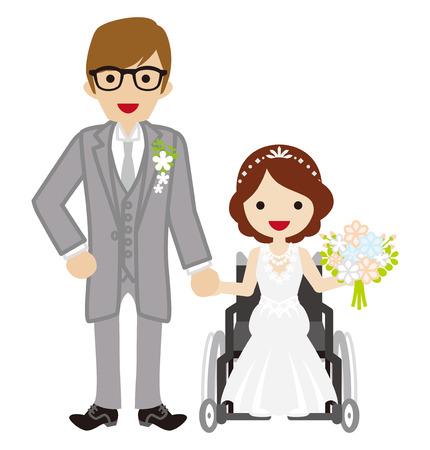 fauteuil roulant jeune mariée