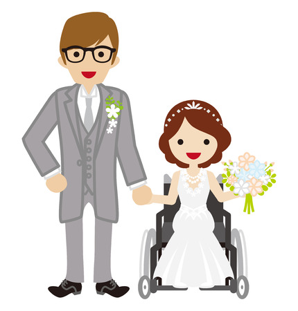 physical impairment: Wedding wheelchair Bride