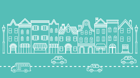 old fashioned car: Townscape-Cars driving in the Street
