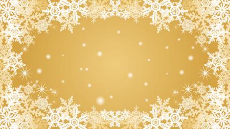 natural phenomenon: Snowflake frame-golden color