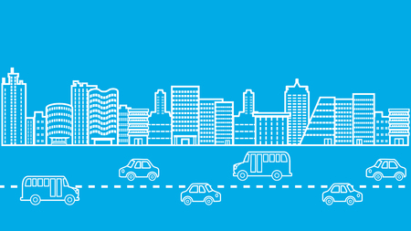 downtown district: Cityscape Highway Road Traffic Jam Illustration