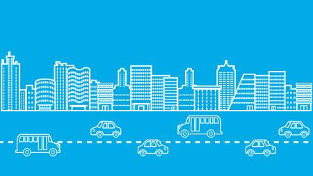 Cityscape Highway Road Traffic Jam Illustration