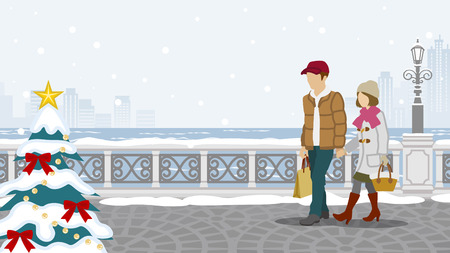 unrecognizable person: Couple walking in winter town