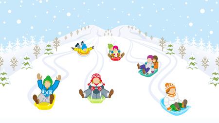 Sledding kids in snowy mountain 일러스트