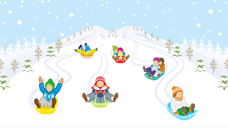 Sledding kids in snowy mountain Иллюстрация