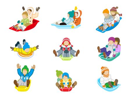 sledding: Sledding kids set Isolated
