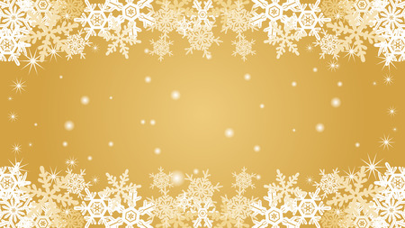 shiny gold: Snowflake border frame-Gold color-EPS10