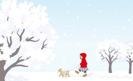snow landscape: Winter stroll, Red coat girl with puppy