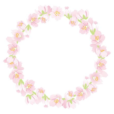 Cherry Blossom Wreath Isolated Illustration