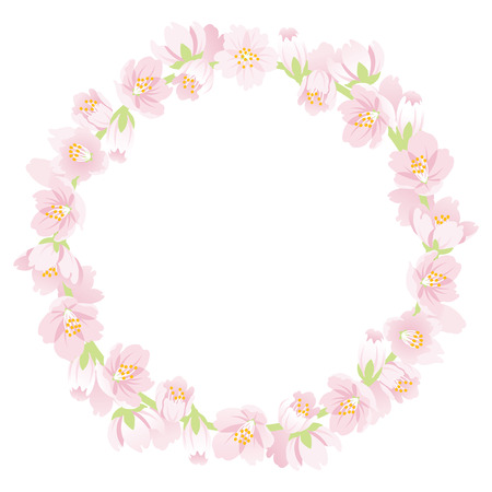 Cherry Blossom Wreath Isolated Illustration