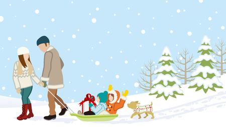 Vector father and son: Gia đình trong mùa đông cha mẹ thiên nhiên mang trẻ em bởi các xe trượt tuyết Hình minh hoạ