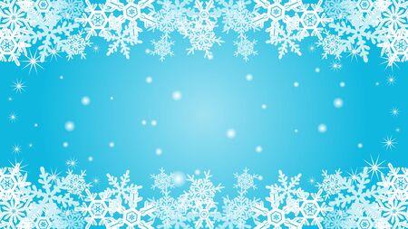 natural phenomenon: Snowflake border frame-Blue color-EPS10