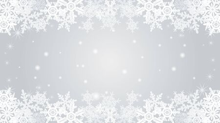 Snowflake border frame-Silver color-EPS10  イラスト・ベクター素材