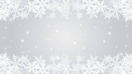 Snowflake border frame-Silver color-EPS10  イラスト・ベクター素材