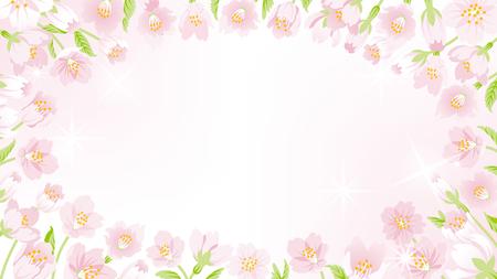 cerisier fleur: Cherry Blossom frame-round Illustration