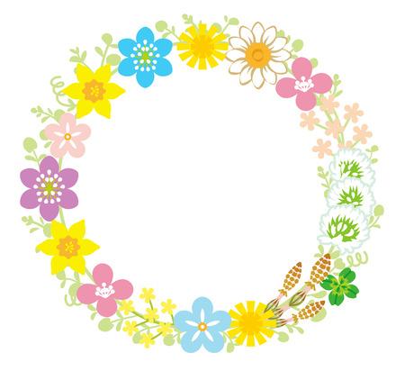 Spring Flower Wreath  イラスト・ベクター素材