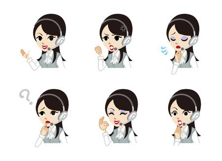 servicio al cliente: Operador de conjuntos expresión facial Vectores