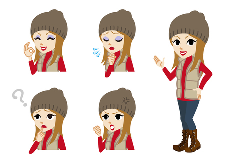 full length: Winter casual fashioned girl full length and Facial expression set Illustration