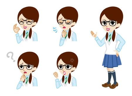 Studentessa a figura intera e insieme espressione facciale
