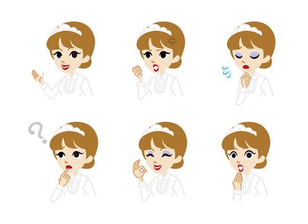 Waitress Facial expression set