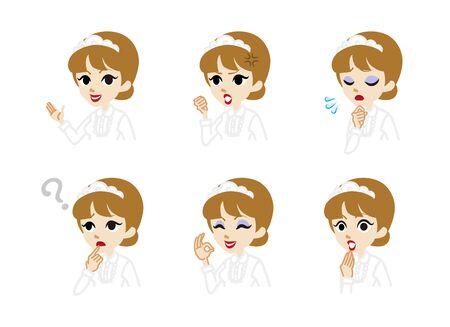 facial   expression: Waitress Facial expression set