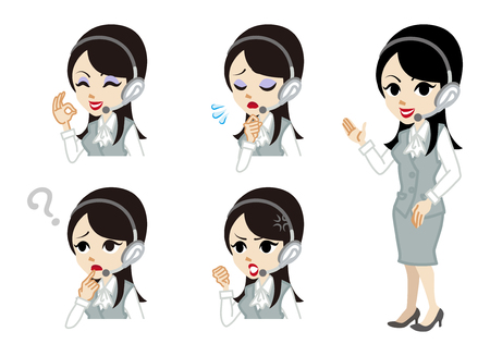 woman vector: Operator full length and Facial expression set