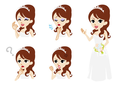 facial expression: Bride full length and Facial expression set Illustration