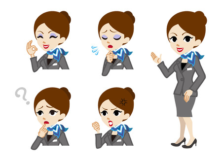 Concierge full length and Facial expression set  イラスト・ベクター素材