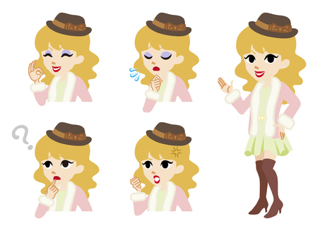 toothy smile: Girly winter fashioned women full length and Facial expression set