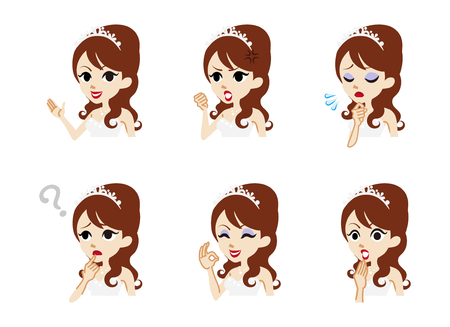 toothy smile: Bride Facial expression set Illustration