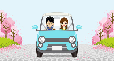 cherry trees: Driving Couple-Row of cherry trees Illustration