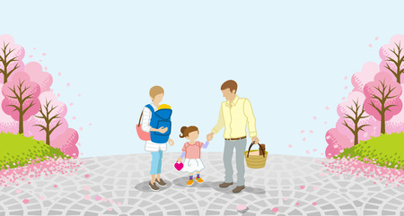 unrecognizable person: Family stroll-Row of cherry trees Illustration
