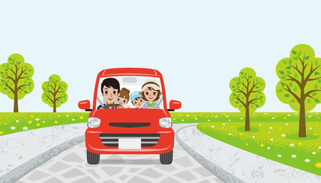 family with two children: Driving family-spring road Illustration