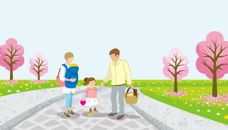 cerezos en flor: paseo familiar en el camino de cerezo