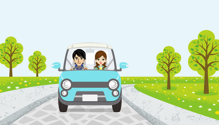 driving a car: Driving Couple stamps road