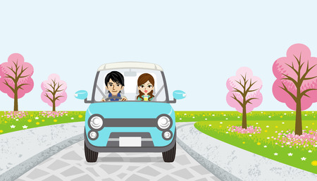 springtime: Driving Couple-cherry tree road Illustration