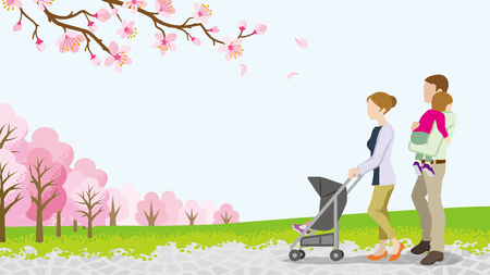 child care: Walking family with Baby Stroller among full bloom cherry trees Illustration