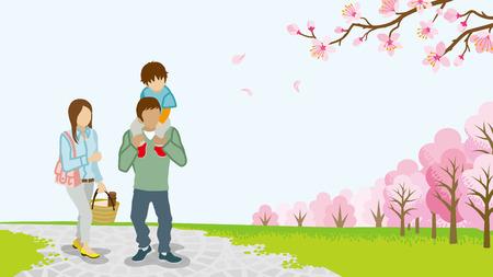 piggyback: Family Walking among full bloom cherry trees-Piggyback