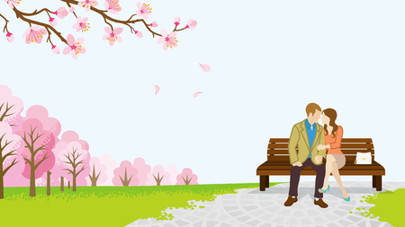 unrecognizable person: Couple in the spring park which among the cherry trees