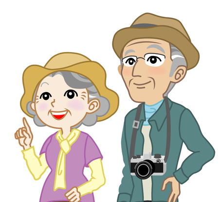 spring out: Senior couple Tourist Looking up-Waist Up, Isolated