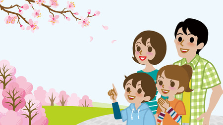 girl looking up: Family enjoy the Cherry blossoms viewing
