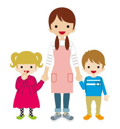 乳母と二人の子供