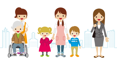 child care: Various Women Child care Worker, Caregiver,-Townscape Background Illustration