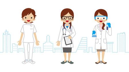 Kobieta pracownik służby zdrowia-Townscape Tło Ilustracje wektorowe